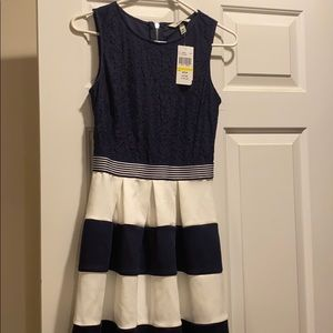 Brand new beautiful a line dress. Navy and ivory.